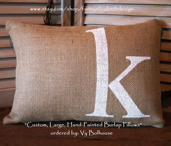 "Lg. Burlap Initial Pillow 18""x12""FREE SHIPPING- Wedding Pillow-Decorative Pillows- Burlap Pillow-Burlap Pillows-Pillow- Wedding Gift- Burlap"