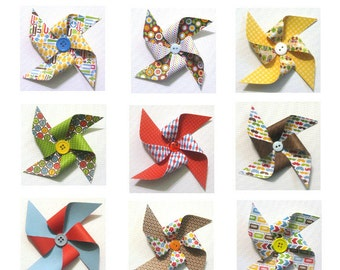 Paper Pinwheels - Day-to-Day Themed Pinwheels SET of 12 (Great for Cupcake Toppers or Pinwheel Bouquet)