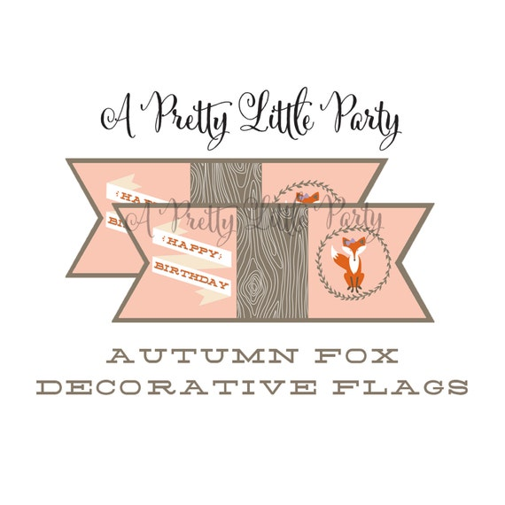 FOX Decorative Flags  - Woodland Fox Digital files - Party Supplies - INSTANT DOWNLOAD