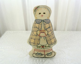 Vintage embroidered cloth doll pillow