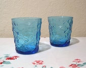 Vintage Anchor Hocking 2 Aqua Tumblers 8 oz Milano Blue Glass Juice Milk Rocks Sorreno