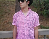 1980's Vintage Men's Pink Abstract Button Shirt Short Sleeve 80's Medium Awesome Valley New Wave