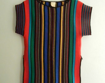 SALE // Vintage 70s Striped Acrylic Knit Tunic Top