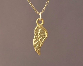 Gold Tiny Angel Wing Necklace also available in silver