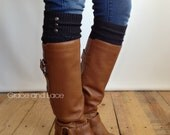 LouLou - Graphite: Open-work Leg Warmers w/ antique gold metal buttons - Legwarmers boot socks button legwarmers (item no. 9-23)