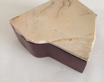 Wooden Box with Stone Lid - Large Cream
