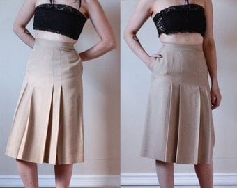 80's Beige SKIRT by Alfred Sung // High Waisted / Front Kick Pleats // Size Extra Small
