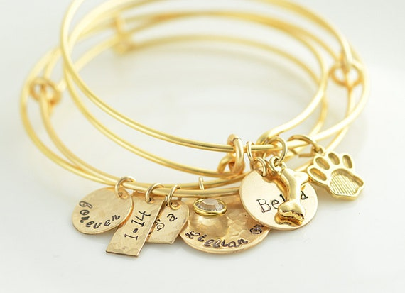 personalized bangle charm bracelet sted by