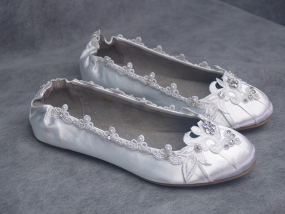 White Wedding Flats Lace Crystals Shoes Flat Shoes By NewBrideCo