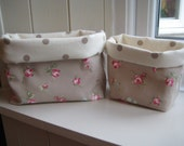 Fabric storage basket organiser in rose flower and dotty taupe fabric - Mother's Day gifts - home organiser uk