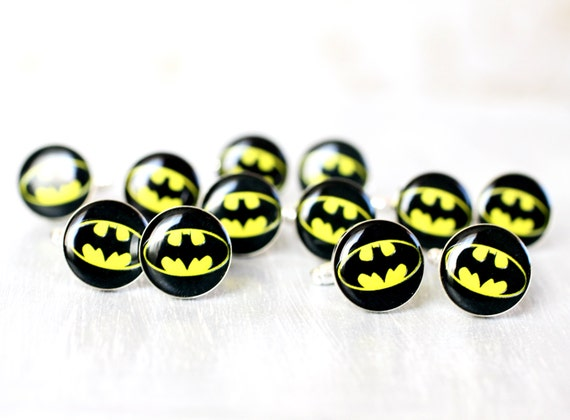 Wedding mens cufflinks - set of Groomsmen gifts - Comic Superhero - Batman cuff links