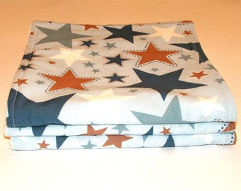Baby Burp Cloths  Blue White and Brown Stars   Cotton terry Set of Three