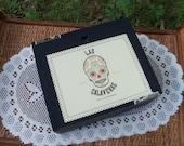 Black Cigar Box Las Calaveras Skull Theme Slide Top Wooden Chest Two White Here Now by IndustrialPlanet