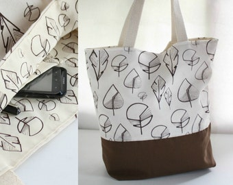 Brown tote bag- Cotton tote-Leaves hand printed-Brown and raw color cotton tote-Shoulder bag