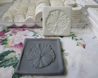 Clay Flower Stamp Pansy Blossom Pottery Press Mold Relief or Sprig Mold Bisque Clay Floral Stamp for Decoration and Texture