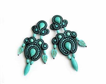 SALE - Half Price -Soutache earrings with blue turquoise howlite stones - fasionable and very elegant - Druadan Forest