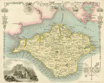 Isle of Wight 1837. Antique map of the Isle of Wight, England  by Thomas Moule - MAP PRINT