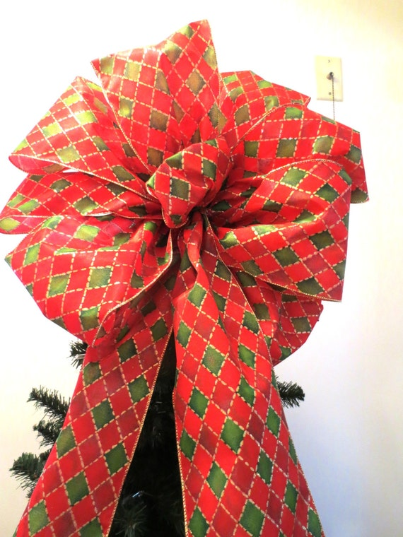 Large Christmas Bow Tree Topper Bow Wreath Bow Red Bow Red