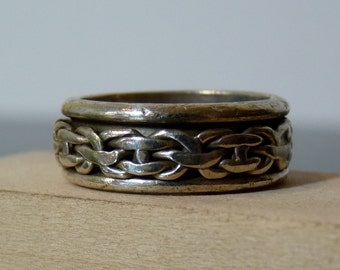SPRING SALE Vintage Silver Moving Double Band Ring