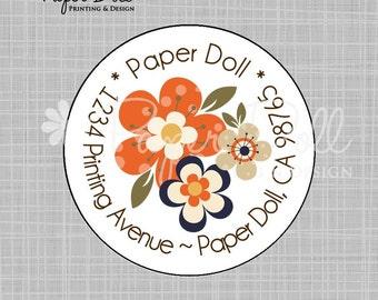 "Flower Circle Labels - Orange, Navy and Brown - 2"" Circle Address labels"