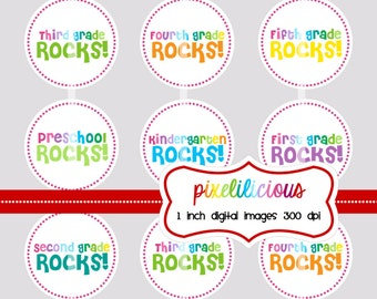 Bottle Cap Image Sheet - Instant Download - School Rocks 3 -  1 Inch Digital Collage - Buy 2 Get 1 Free