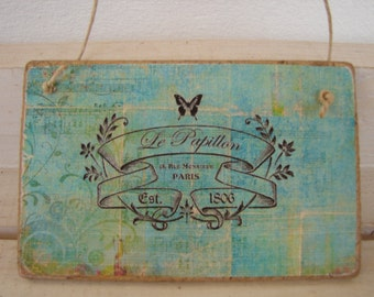 French shabby chic,Vintage wallpaper design with French address image on  wooden tag/dresser/door hanger
