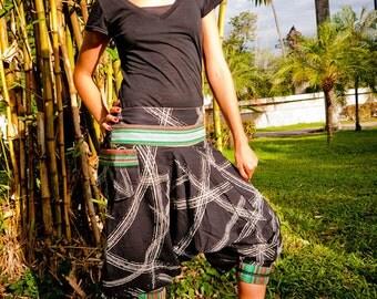Thai pants / Capri Pants, Batik Cotton, Hmong Hill Tribe Style, Random White on Black Stripes w Colorful Details