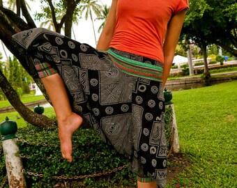 Thai  / Capri Pants, Batik Cotton, Hmong Hill Tribe Style, Black&Grey Squares, Circles and Green Details