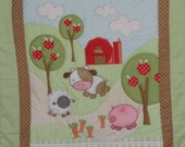 Appliqued Barnyard Scene Baby Quilt, Cutie pie Sheep and Little Piggie, So soft Flannel