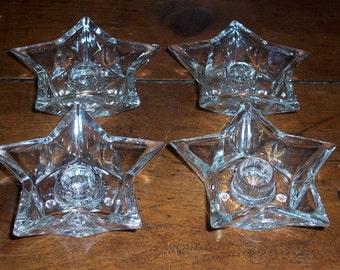 Set  of 4....Vintage Glass Candle Holders...Glass Stars...Very Nice Condition...Vintage Wedding Table....Mid Century