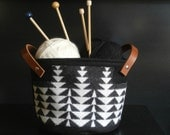 Storage bucket, Pendleton wool fabric, tribal pattern, for kniting, toys, plants, Christmas presents, size Med, black and cream
