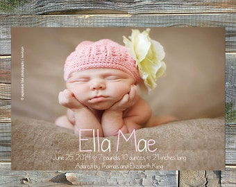 Digital Baby Birth Announcement, Custom Birth Announcement, Girl's Birth Announcement Boy's Birth Announcement