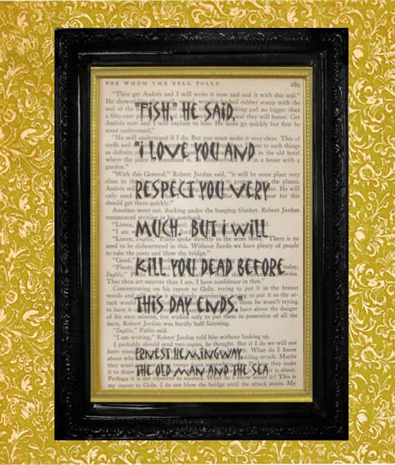Items similar to ernest hemingway fish quote on first Ernest hemingway inspired decor