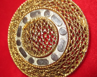Gold Filagree Brooch with Silver Round Pin Vintage 1960s Jewelry Pin