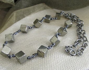 Stone Age Pyrite Cube Bead Necklace