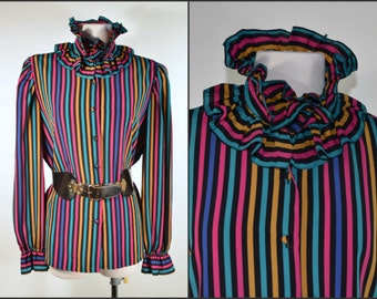Vintage 70s Ruffle Neckline Striped Blouse/ Black + Jewel Toned Colorful Striped Top/Harlequin Jester Secretary/ Hipster Grunge Blouse SZ 12