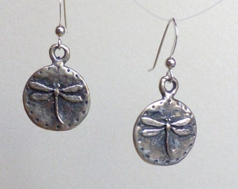 Dragonfly Earrings: Antiqued Bronze Dangles on Sterling Silver Earwires