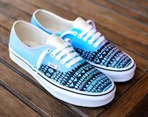 Custom Hand Painted Pastel Color Tribal Pattern Vans Authentic shoes - customizable - Custom Painted Vans Sneakers
