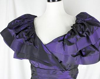 Vintage Dress 1980's Tadashi Iridescent Purple Wiggle