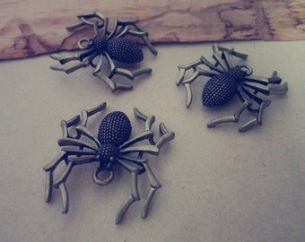 10pcs of Antique bronze spider charm pendant  28mmx35mm