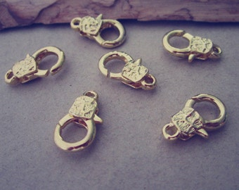 10pcs gold color Lobster Clasps with pattern 9mmx15mm