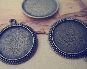 10pcs 25mm Antique Bronze Round Plated Pendant Base  tray