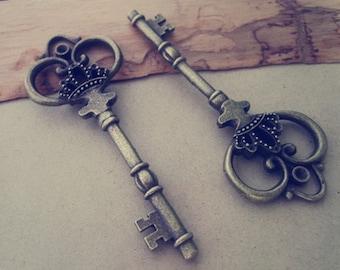 2pcs antique bronze key pendant charm 32mmx83mm