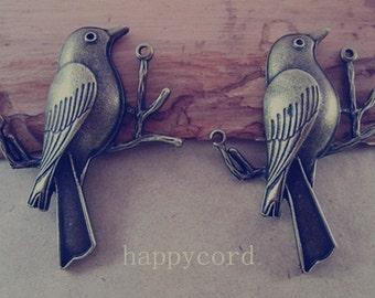 10pcs  Antique bronze bird charm pendant 40mmx50mm