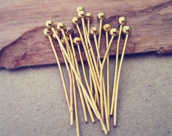 100 pcs  gold color ball head pins 20mm