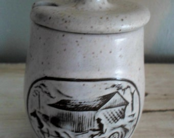 Covered Bridge Onion River Pottery Jam Jar Honey Jar Creamer FREE SHIPPING