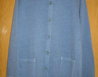 vintage slate blue  long sleeve sweatshirt jacket by 'Fresh Produce'  . . . . .  all cotton . . . . .  OSFA . . .  gently worn