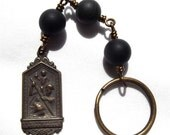 Bronze St. Christopher Keychain with 3 Hail Mary Devotion