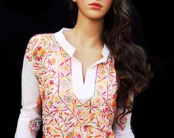 White dress handmade Ethnic clothing Women Tunic top Bohemian Wedding Dress Cotton Caftan Indian Salwar Kameez January trends gift ideas