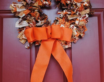 Fall Rag Wreath - Small, Thanksgiving, Autumn Decor